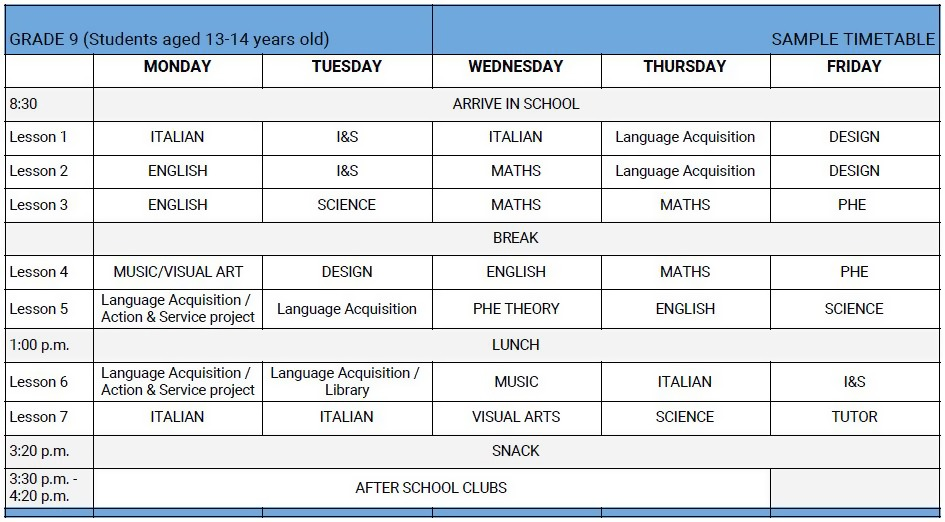 Timetable – International School Brescia